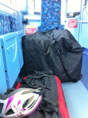 bike folded with trailer on the bus